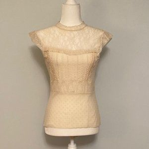 Cream lace blouse from anthropologie
